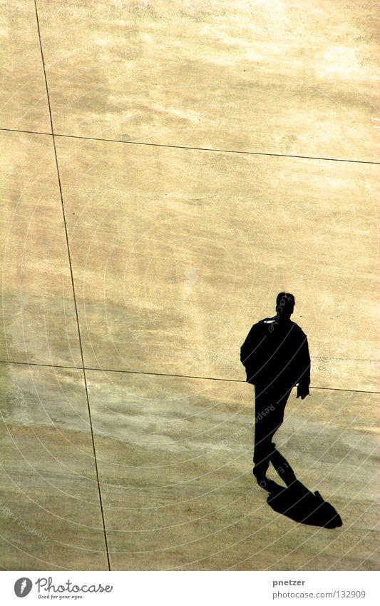 Man White City Black Loneliness Yellow Gray Line Bird Going Walking Modern Perspective Gloomy Simple Asphalt