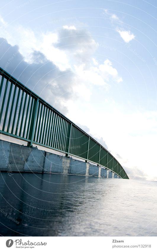 Nature Green Blue Clouds Street Rain Glittering Wet Concrete Bridge Handrail Swing