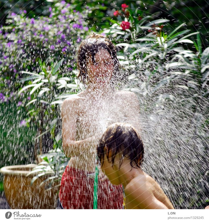 Human being Child Youth (Young adults) Green Summer Water Red Joy Playing Happy Laughter Garden Masculine Contentment 13 - 18 years Happiness