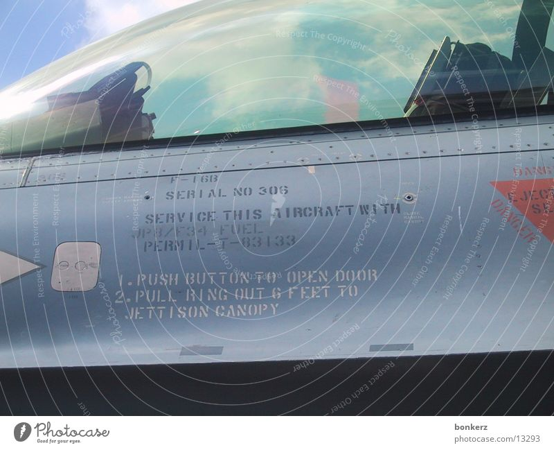 Airplane Technology Detail Warning label Symbols and metaphors Military aircraft Electrical equipment Cockpit F-16 Thunderbird