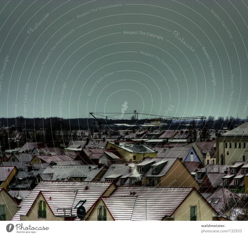 roof landscape Roof Snow Winter House (Residential Structure) Crane Town Small Town Historic Goods (Müritz) Old town