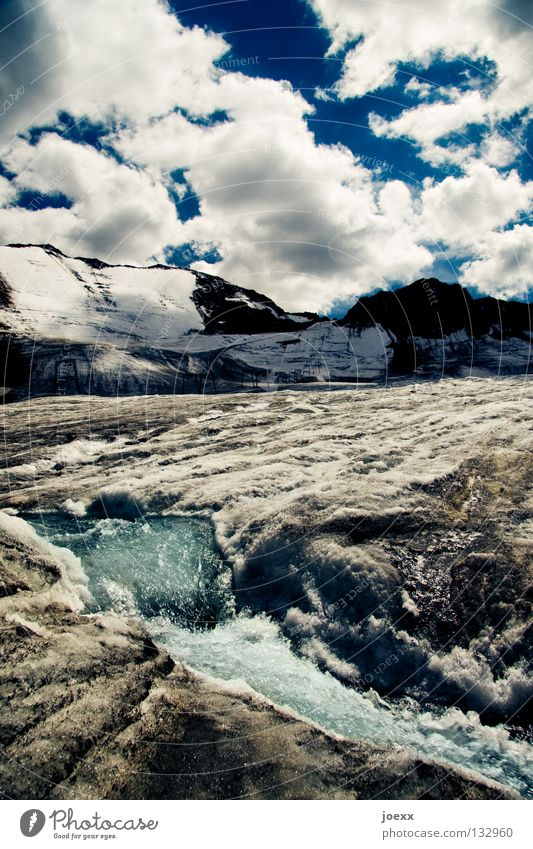 Decreasing full glacier Melt Thaw Nightmare Brook Brown Dramatic Loneliness Iceberg Blue Cold Frozen water Narrow Climate change Damp Glacier Glacier ice Gray