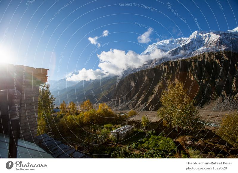 mountain Environment Nature Landscape Blue Brown Yellow Gold Gray Green Orange Black Nepal Hiking Mountain Clouds Snow Tree Hut House (Residential Structure)