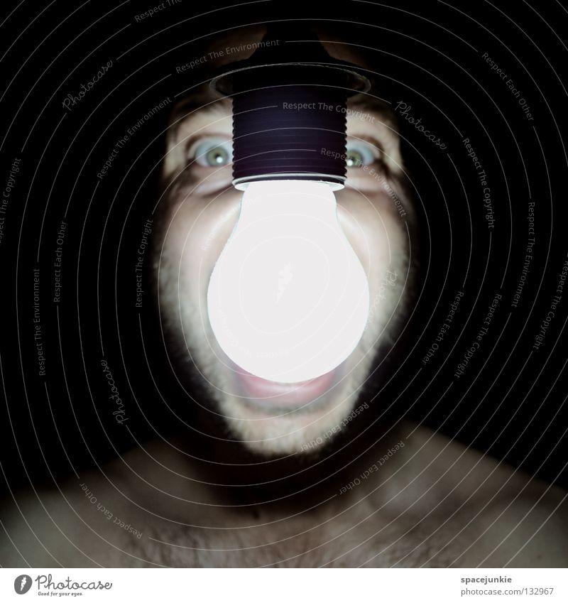 light Man Scream Portrait photograph Freak Fear Alarming Dark Black Show your teeth Evil Crazy Light Electric bulb Electricity Power consumption Joy Face