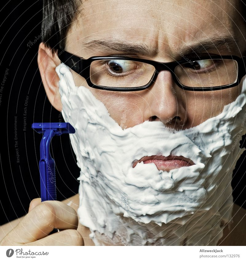 rabid Man Shave Shaving cream Eyeglasses Person wearing glasses Foam Abbreviate Unshaven Male preserve White disposable razor Cleaning Razor Skeptical