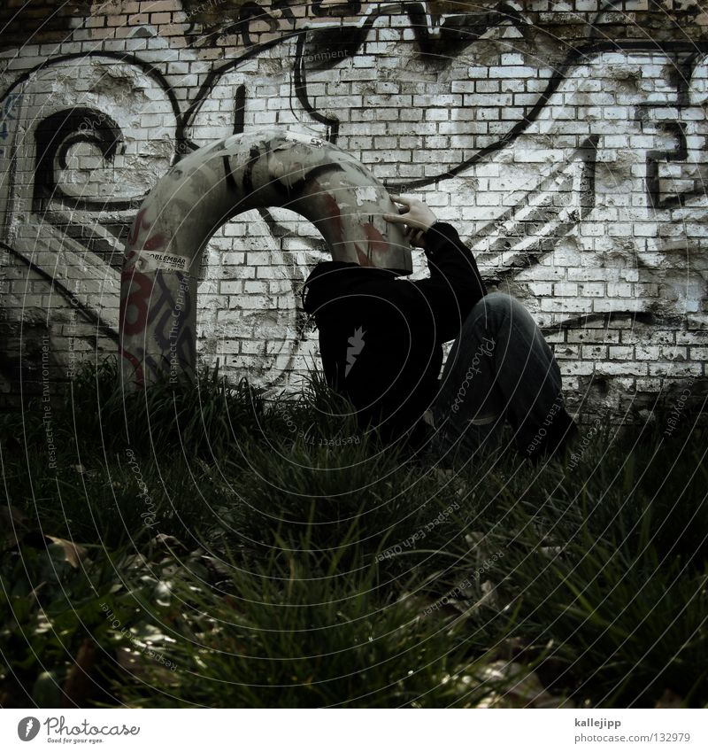 Human being Man Graffiti Grass Think Funny Protection Creativity Idea Pipe Bizarre Obscure Thought Anonymous Strange Joke