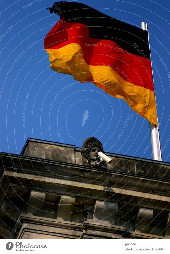 Big Brother is watching you! Flag German Flag Government Bust Police state Filming Take a photo Record Monitoring Data storage To talk Decide Building Masonry