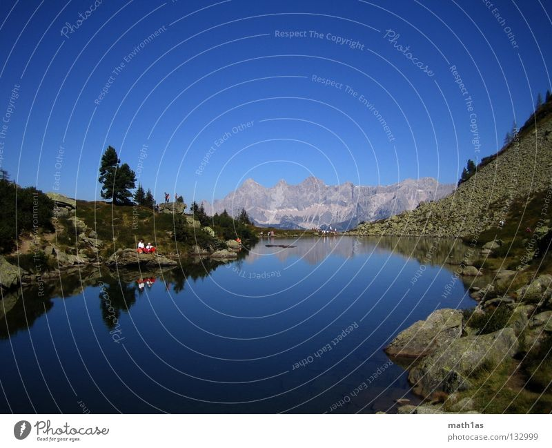 Dachstein in the lake of mirrors Dachstein mountains Ramsau near Berchtesgaden Lake Pond Light blue Turquoise Color gradient Summer Ramsau at the Dachstein