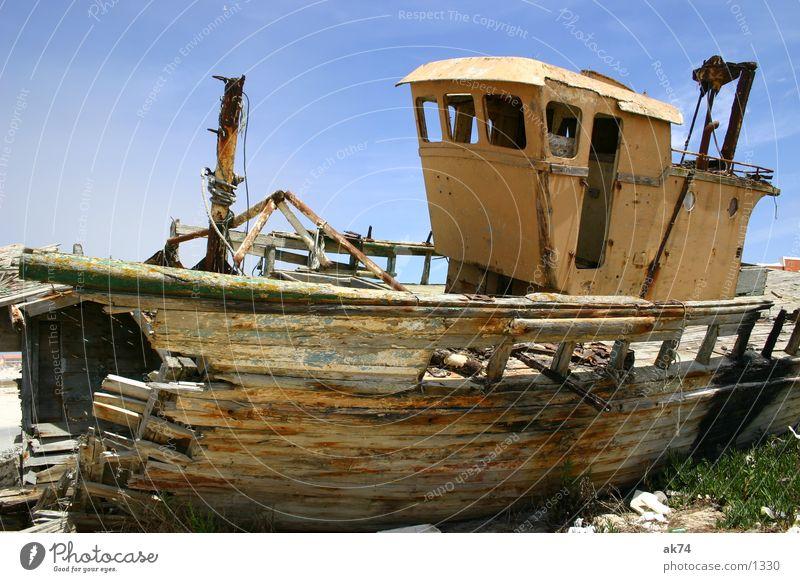 Broken Watercraft Wood Scrap metal Wide angle Stranded Navigation Sky Destruction