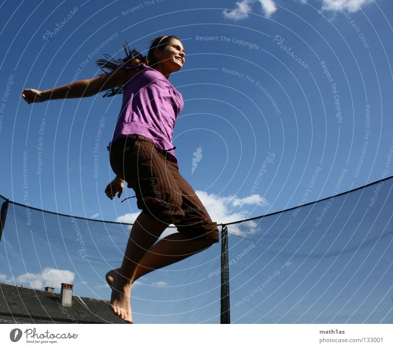 Simply flying Portrait photograph Jump Brown Woman Brunette Violet Trampoline Funsport Hair and hairstyles Wind Sky Blue Flying hitchhike