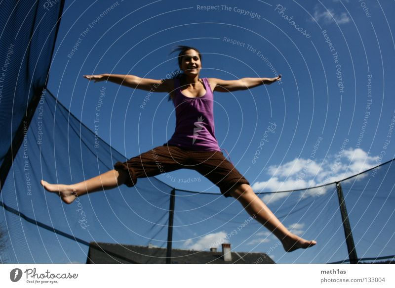 spring fairy Portrait photograph Jump Brown Woman Brunette Violet Trampoline Funsport Hair and hairstyles Wind Sky Blue Flying hitchhike little bird Hanna birds