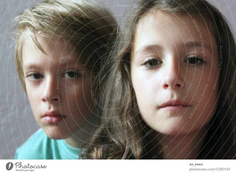 Brother and sister girl Boy (child) Brothers and sisters Sister Infancy Life Face 2 Human being 8 - 13 years Child brunette Blonde Looking Wait Authentic