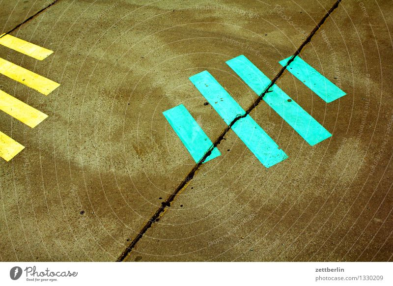 streak Street Sidewalk Asphalt Signs and labeling Pattern Stripe Parallel Gray Yellow Green Red White Image Signal Pictogram Colour Art Abstract Multicoloured