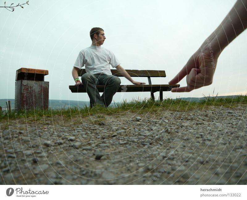 Hand Sky White Stone Lanes & trails Fear Arm Large Jeans Lawn T-shirt Bench Trash Pants Panic Reaction