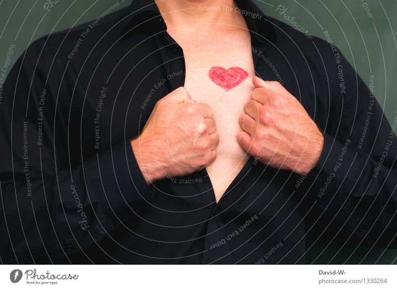 man with heart Lifestyle Body Healthy Valentine's Day Human being Masculine Man Adults Chest 1 Art Shirt Love Emotions Joie de vivre (Vitality) Undo Heart