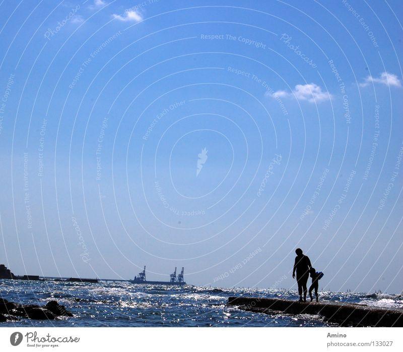 deep pleasure Calm Ocean Israel Electricity Energy industry Caresses Exterior shot Line Horizon Human being Waves Break water Emotions Bright Lake Water Blue