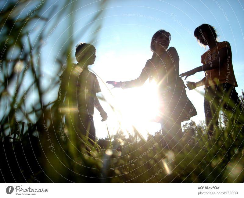 sun children Joy Playing Child Human being Friendship Grass Emotions Perspective Sunset Evening Light