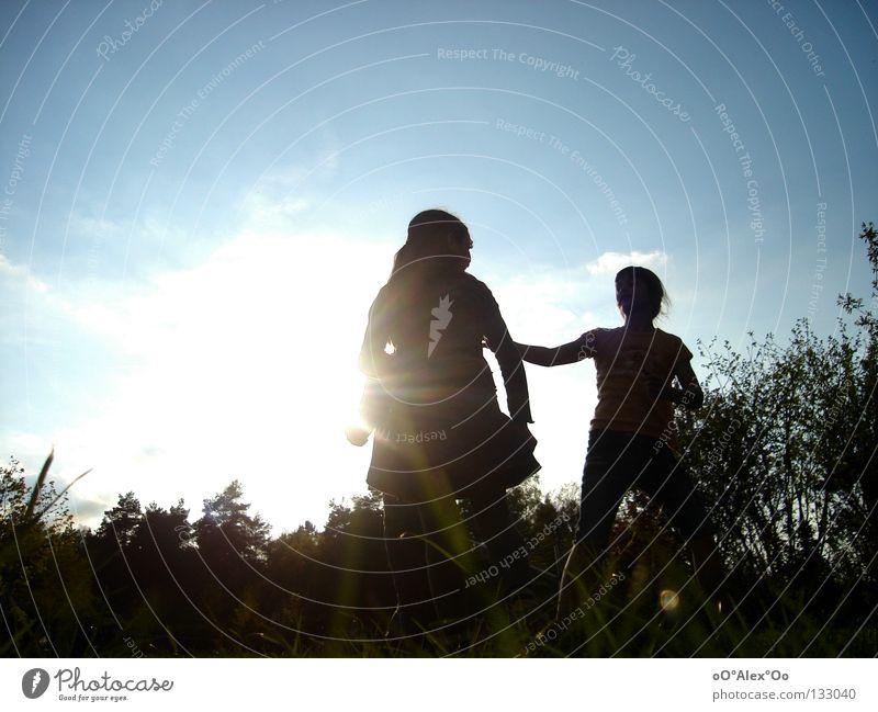 Sun kids! Joy Playing Child Human being Friendship Grass Emotions Perspective Sunset Evening Light