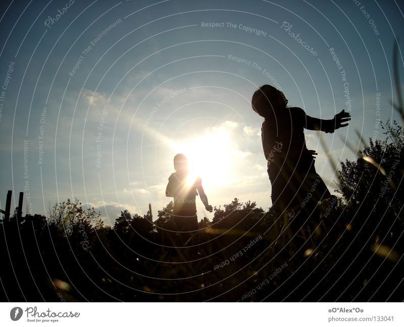 Human being Child Sky Joy Playing Emotions Grass Friendship Perspective