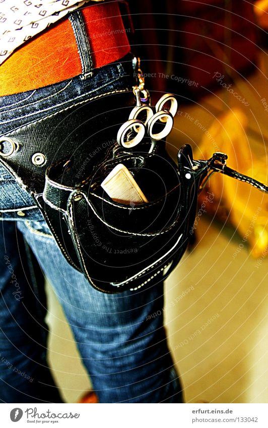 Human being Blue Black Craftsperson Emotions Style Art Tool Jeans Pants Exceptional Wrinkles Side Bag Hairdresser Backwards