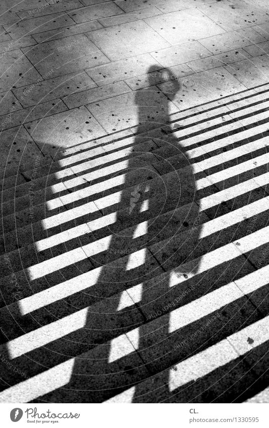Human being Leisure and hobbies Stairs Stand Photographer Take a photo Shadow play
