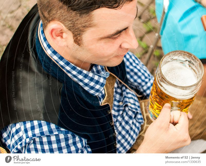 Leather trousers and beer Human being Masculine Man Adults Friendship Life Head 1 30 - 45 years Nature Sunlight Summer Beautiful weather Garden Village Terrace