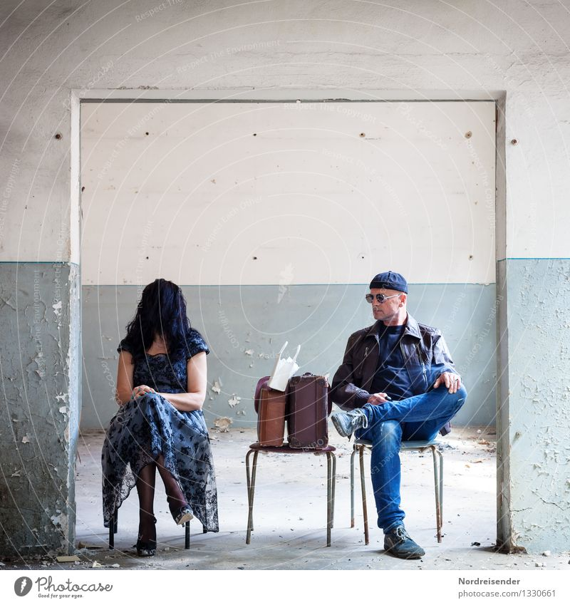 Scurrile scene between woman and man in an old house Interior design Chair Room Flirt Human being Masculine Feminine Woman Adults Man Stage play Architecture