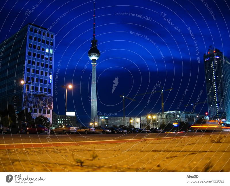 Sky Blue Berlin High-rise Construction site Night Monument Landmark Alexanderplatz
