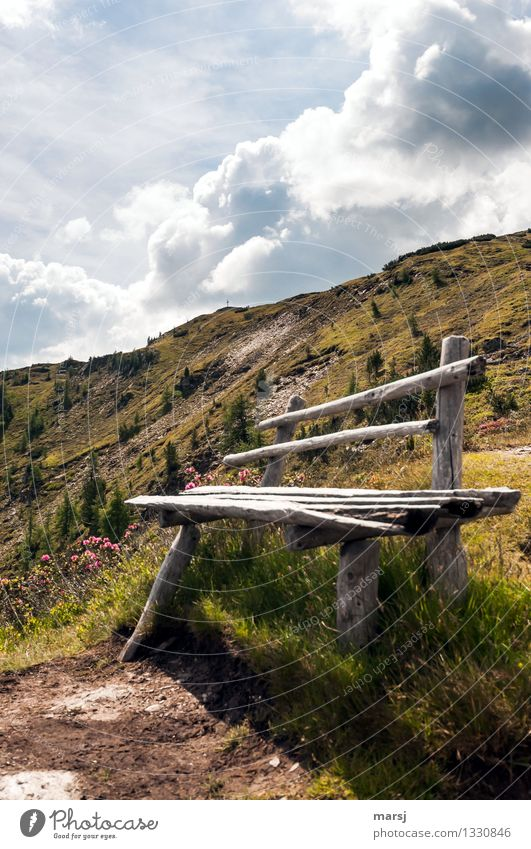 Sky Vacation & Travel Summer Relaxation Calm Clouds Mountain Autumn Tourism Hiking Trip Beautiful weather Adventure Peak Bench Harmonious