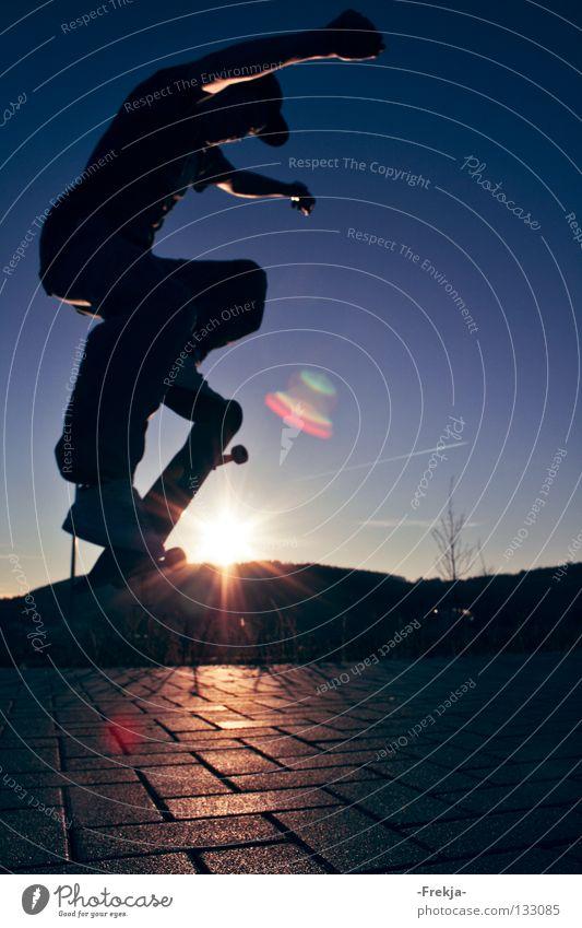 Youth (Young adults) Sky Sun Jump Lighting Skateboarding Funsport
