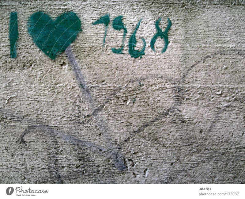 Old Green Love Wall (building) Graffiti Gray Movement Art Dirty Heart Electricity Communicate Culture Derelict I War