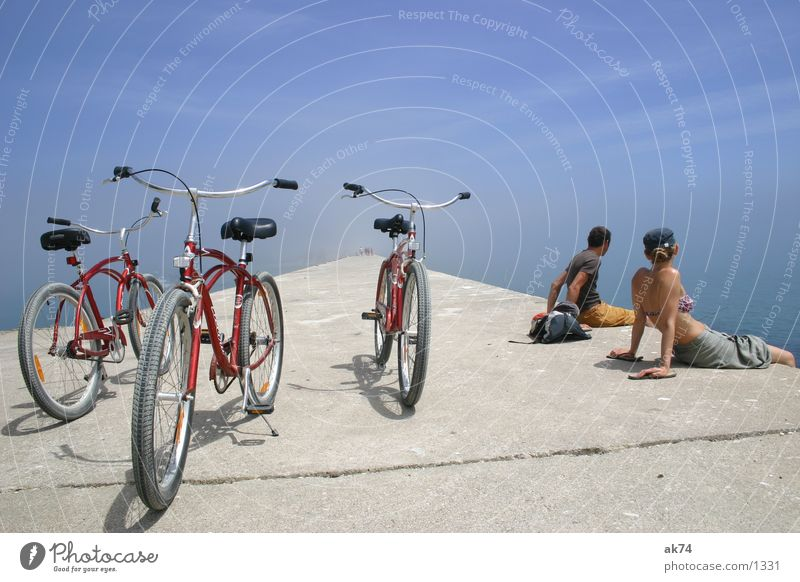 Cruising to the end of the world Beach Cruiser Bicycle Red Wide angle Transport Wheel Sky Blue