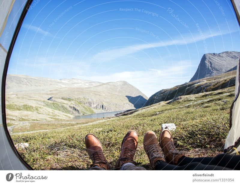 Norway - Rondane Vacation & Travel Trip Adventure Far-off places Freedom Expedition Camping Mountain Hiking Legs Feet 2 Human being Environment Nature Sky