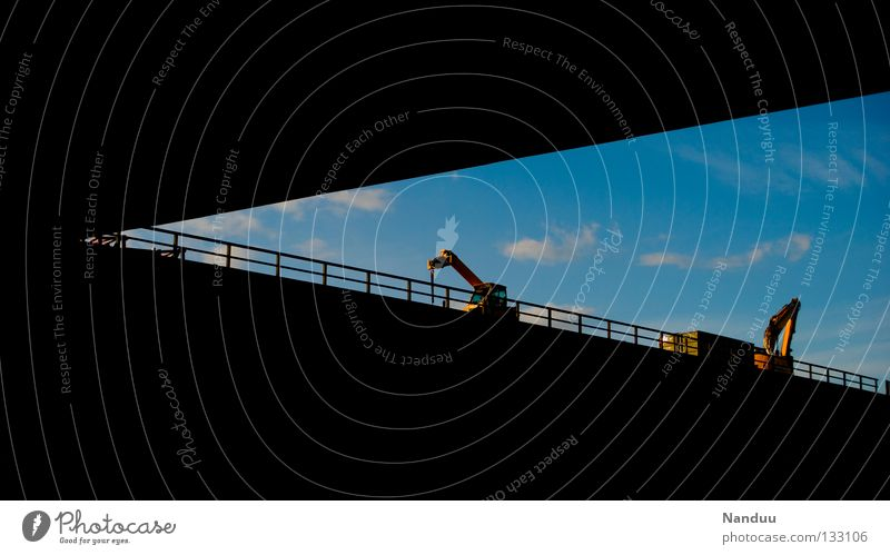 Sky Clouds Transport Industry Bridge Construction site Arrow Highway Graphic Grating Excavator Triangle Shovel Underground Dig Exclusion zone