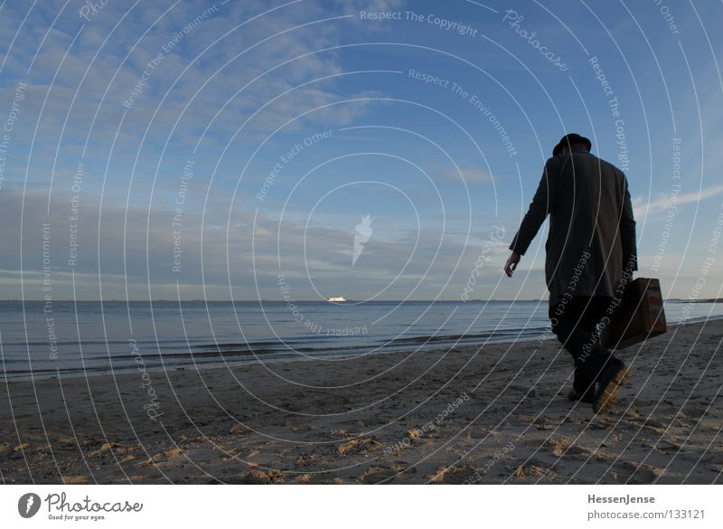 Sky Man Ocean Loneliness Clouds Lake Sand Watercraft Waves Hope Grief Hat Distress Suitcase Coat Mussel