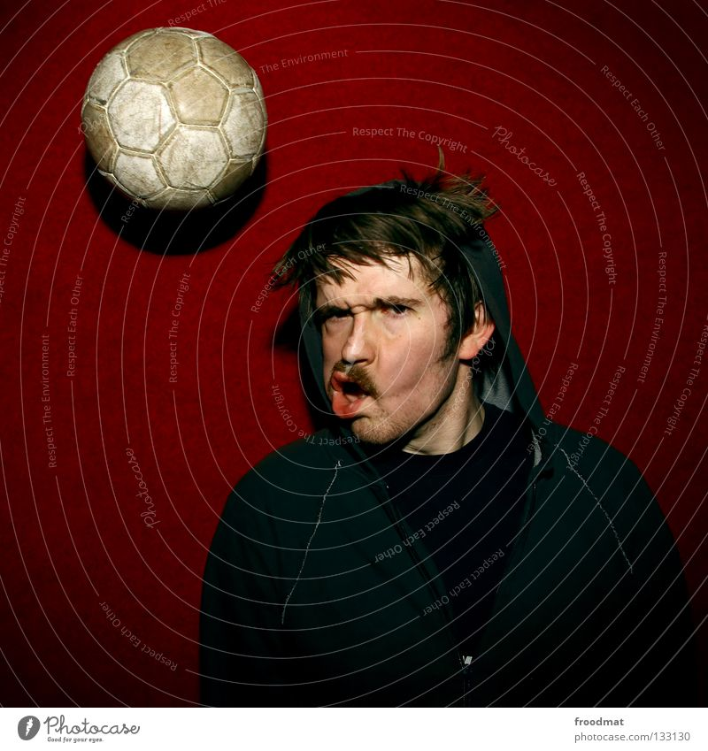 Red Joy Sports Wall (building) Playing Movement Soccer Funny Action Cool (slang) Ball Anger Square Facial hair Frozen Alcohol-fueled