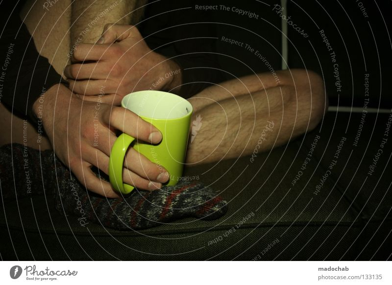 Human being Man Hand Relaxation Legs Masculine Skin Contentment Sit Beverage Touch Coffee To hold on Drinking Peace Trust