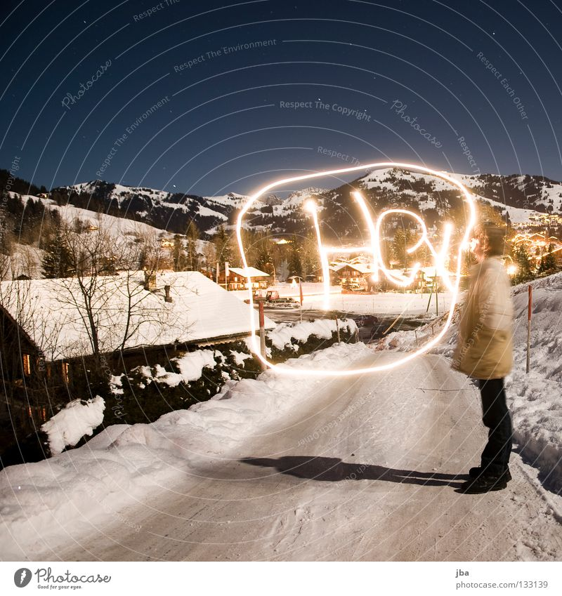 Man House (Residential Structure) Street Snow Lanes & trails Roof Painting (action, work) Write Draw Switzerland Light Speech bubble Virgin snow Gstaad