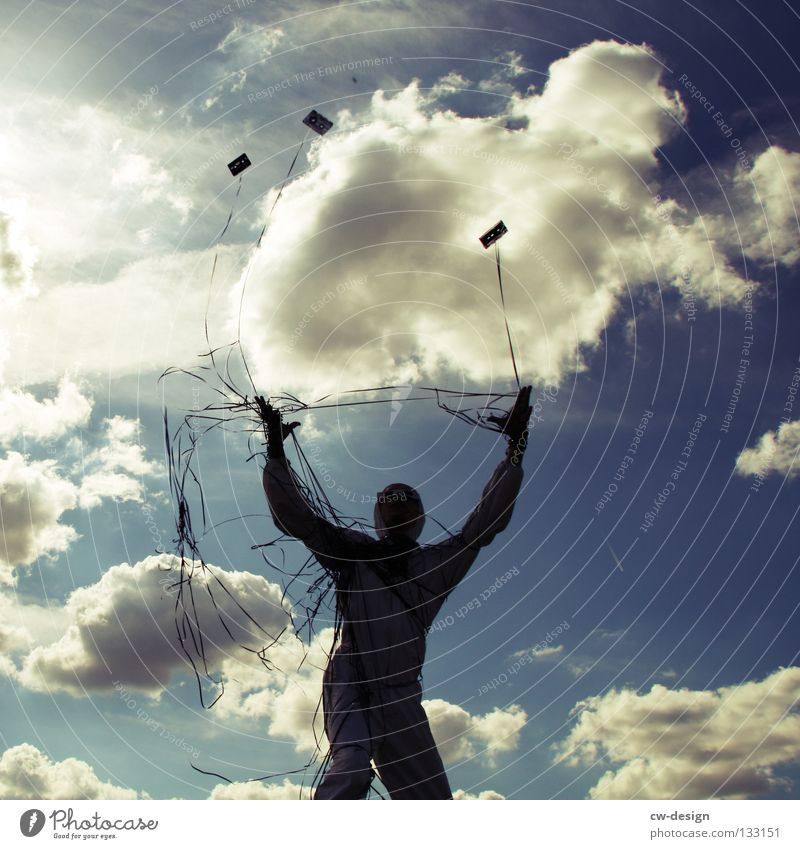 Sky Man Joy Clouds Adults Legs Air Music Art Arm Flying Masculine Rope String Shows Discover