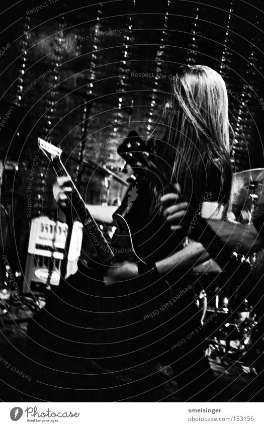Perishing Mankind Black White Concert Shows Long-haired Dark Black & white photo Club Music tri-x 3200 Guitar Hair and hairstyles canonet ql17 Rock music
