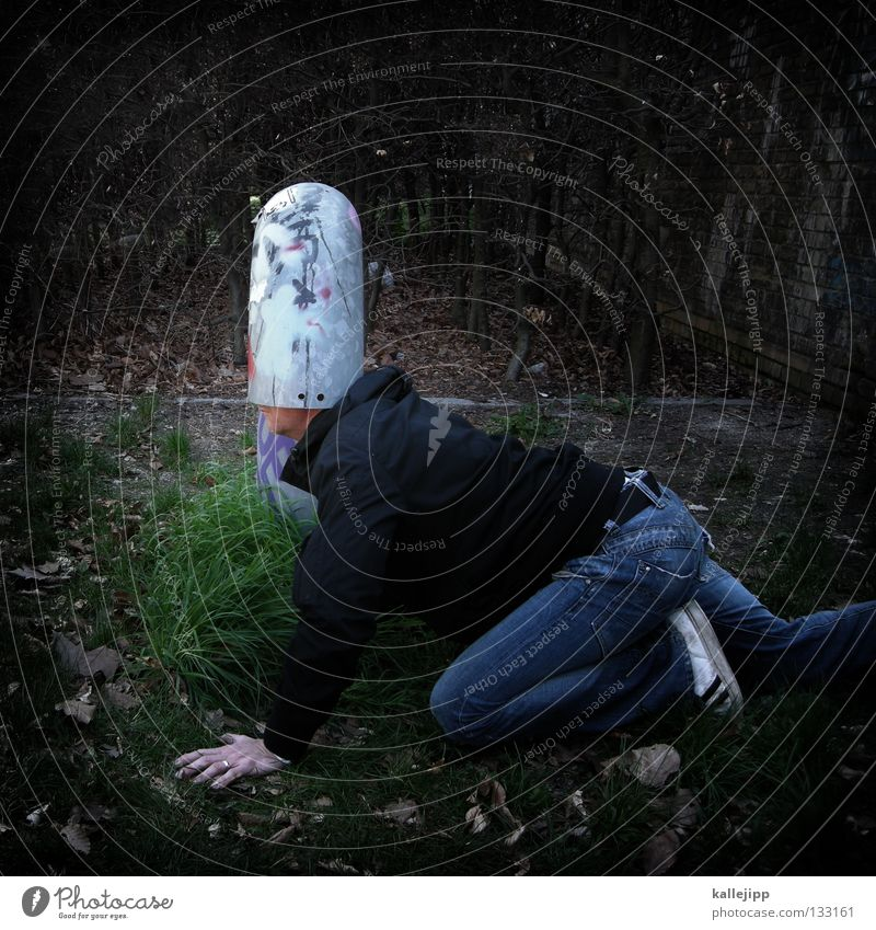 Human being Man Think Funny Protection Creativity Idea Whimsical Pipe Bizarre Thought Surrealism Anonymous Joke Identity Blind