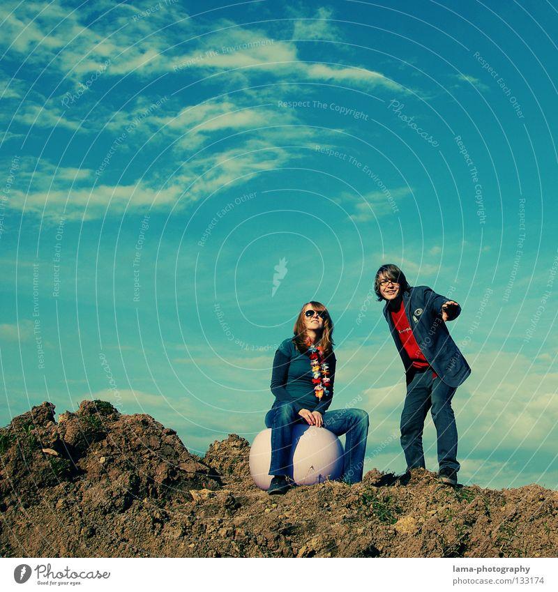 Woman Sky Man Nature Sun Joy Summer Clouds Playing Mountain Jump Dream Couple Bright Orange Earth