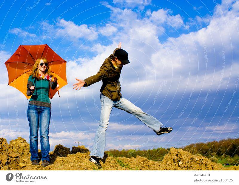 Freedom II Jump Sky Summer Sunshade Emotions Joy Colour katha manu clouds Blue Life