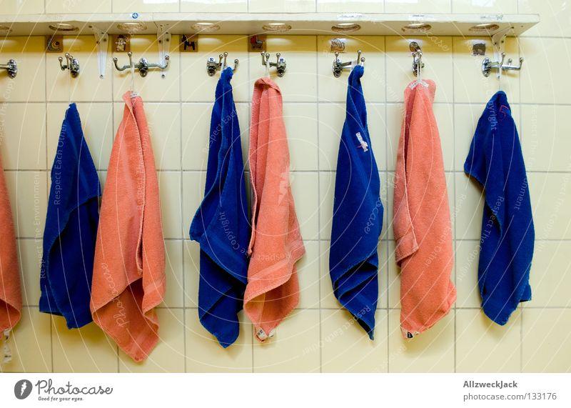 Blue Wet Arrangement Masculine Bathroom Clean Tile Divide Kindergarten Dry Towel Checkmark Hang up Education Sequence Floor cloth