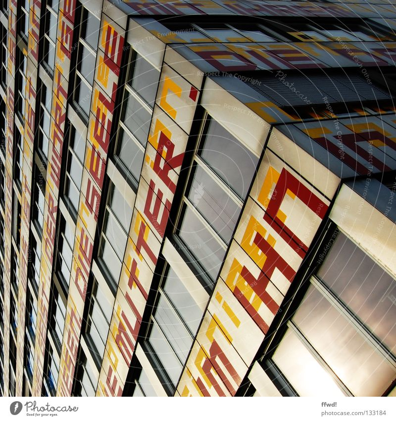 façade poetry Building High-rise Office building Facade Wall (building) Window Reflection Lettering Typography Word Text Letters (alphabet) Mother Literature
