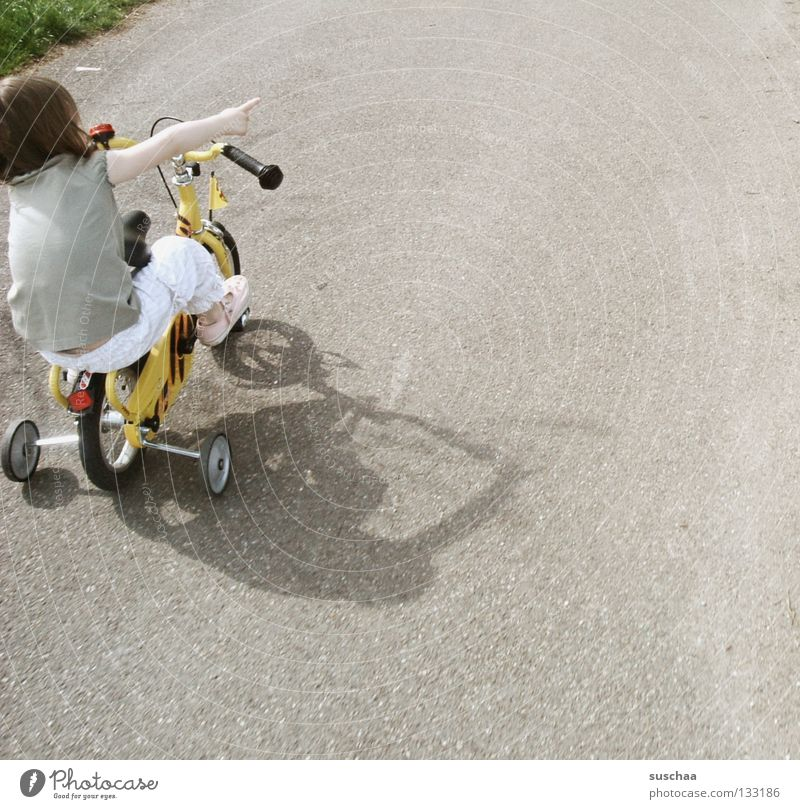 Child Girl Joy Street Playing Small Sit Driving Asphalt Brave Toddler Cycling Brash Freestyle Indicate