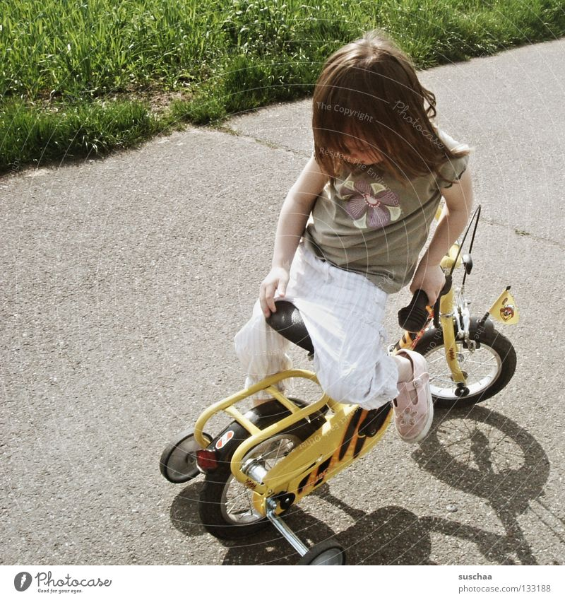 Child Girl Joy Street Playing Small Sit Dangerous Driving Asphalt Brave Toddler Cycling Brash Freestyle