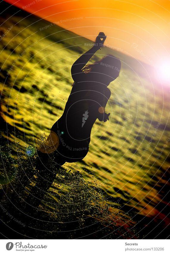 evening sun Ocean Joie de vivre (Vitality) Sunset Evening sun Joy a fine day Water young girl water games