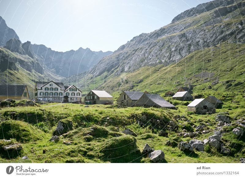 Nature Summer Relaxation Landscape House (Residential Structure) Mountain Environment Meadow Natural Building Rock Field Idyll Hiking Authentic Simple