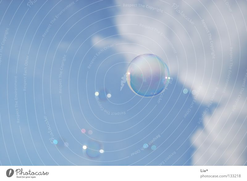 lightness Soap bubble Sky blue Blow Clouds Playing Dream Easy Hover Background picture Round Air Airy Ease Joy Flying Senses Free Freedom Peace Weight